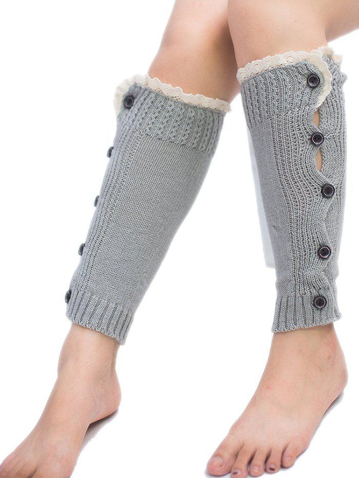 New Buttons Side Knitted Leg Warmers