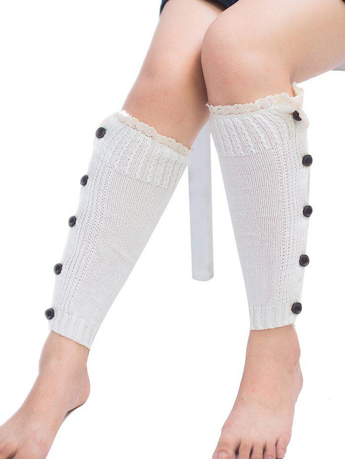 Discount Buttons Side Knitted Leg Warmers