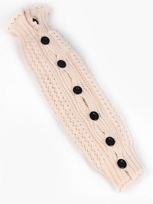 Shop Buttons Side Lace Knitted Leg Warmers