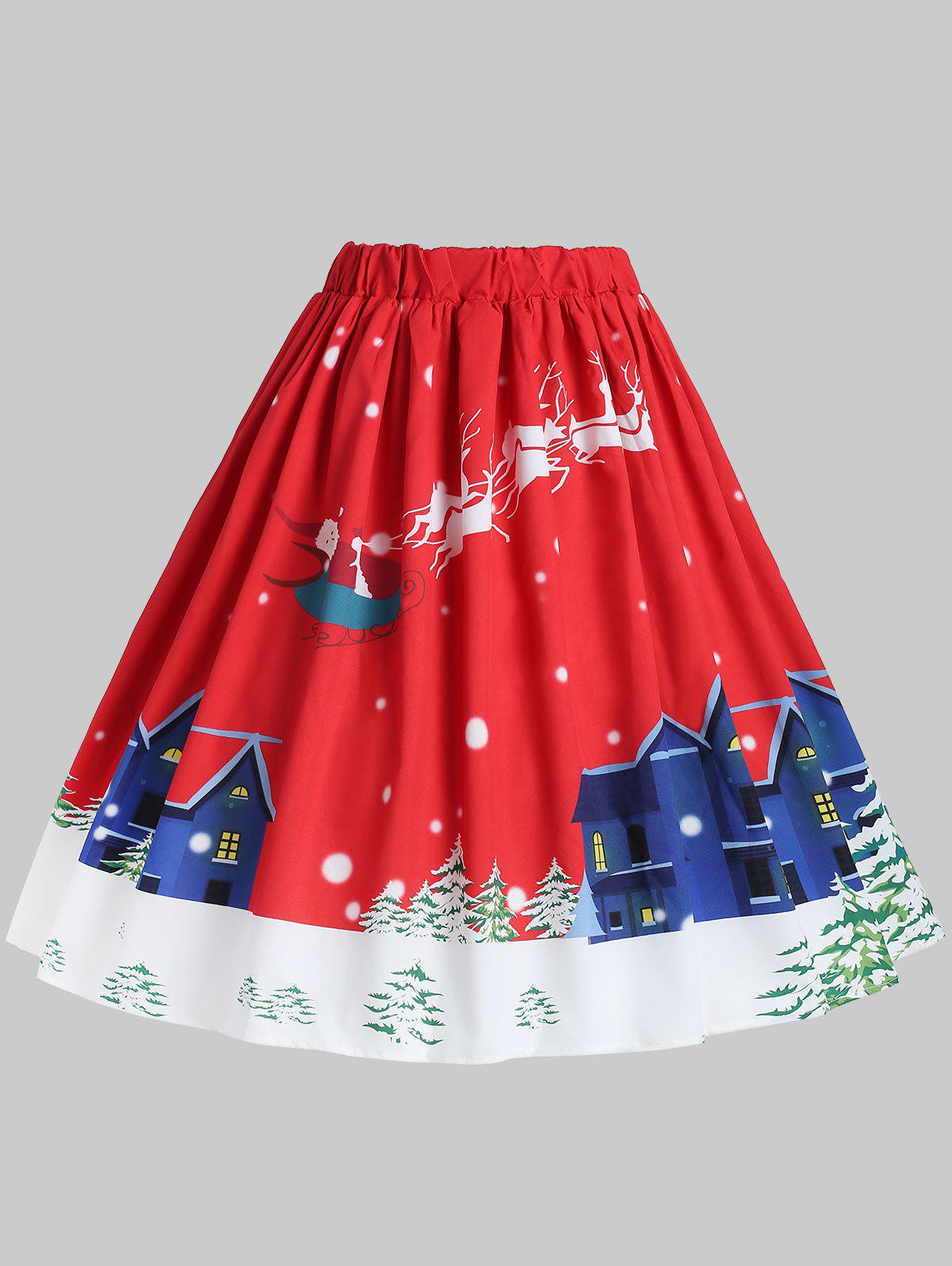 Store Plus Size High Waisted Graphic Christmas Skirt