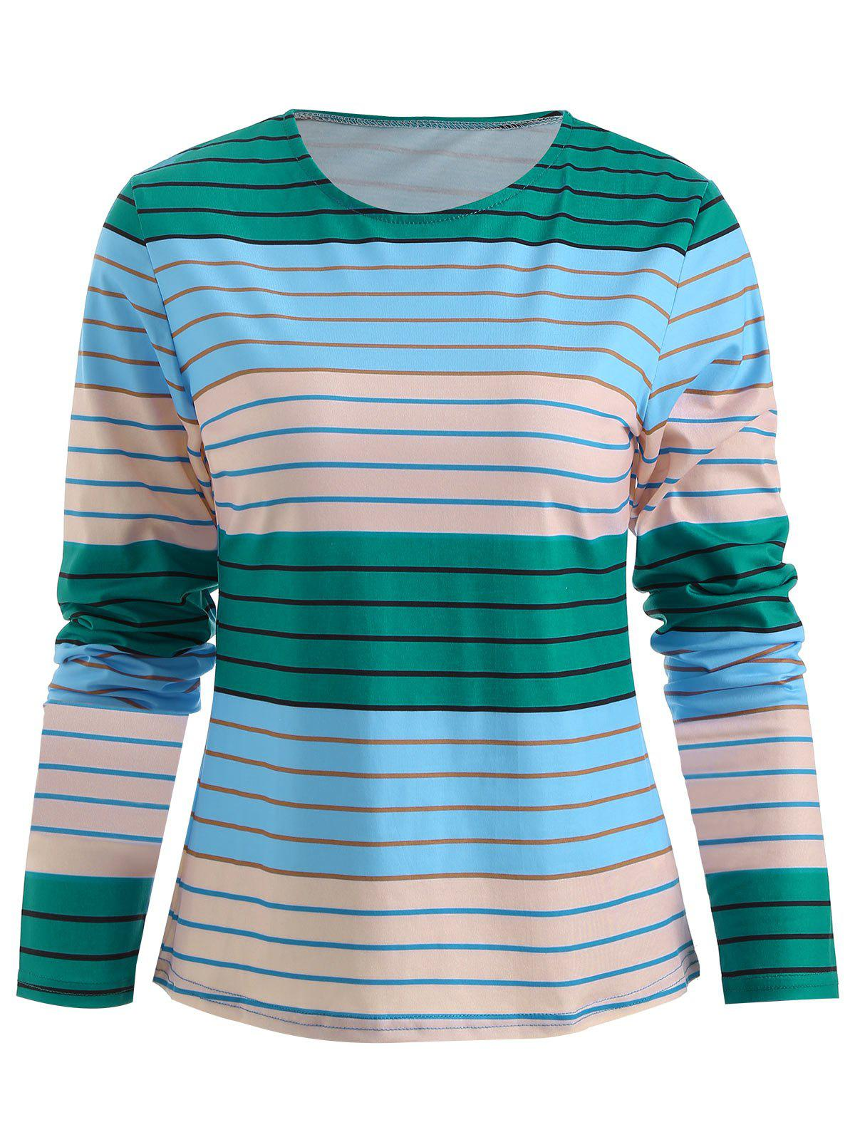 Cheap Color Block Stripe T-shirt