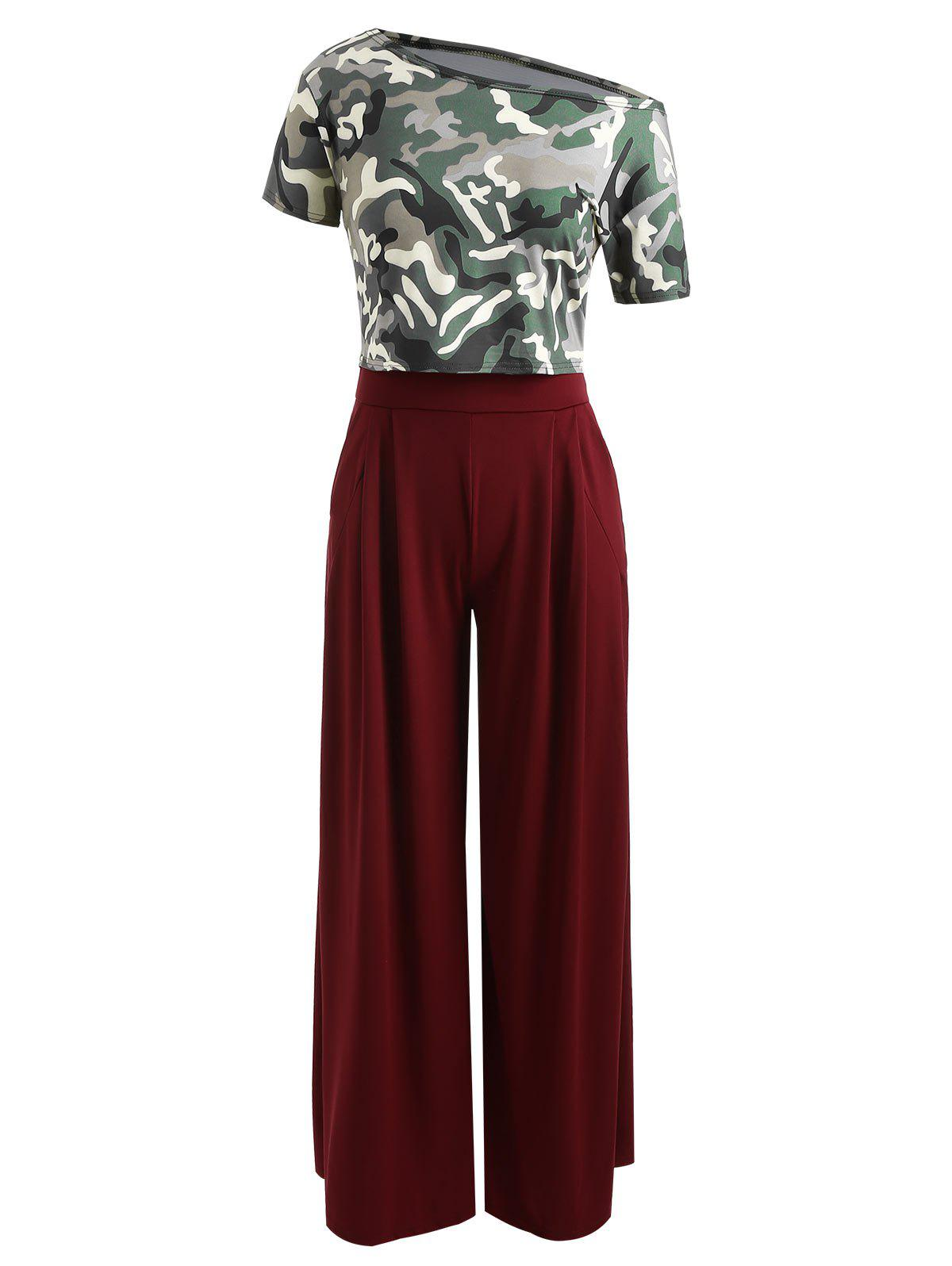 Cheap Skew Neck Camouflage Print Crop Top With Palazzo Pants