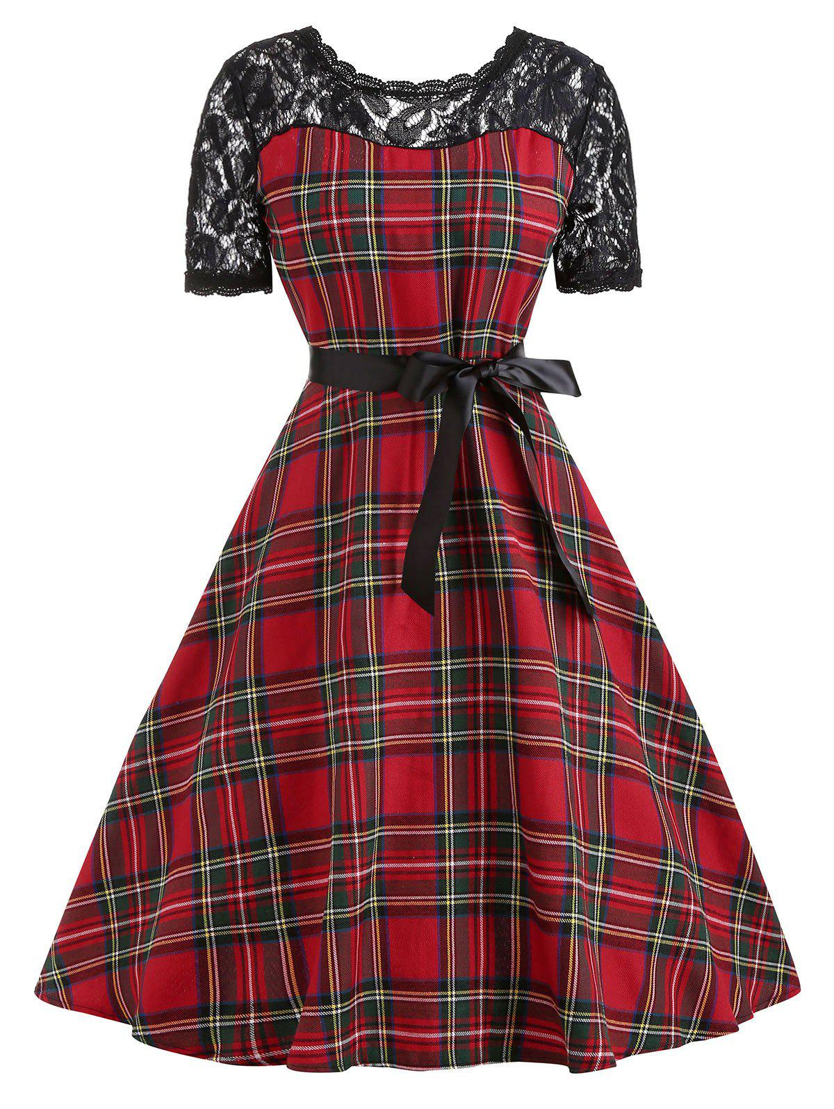 Outfit Vintage Lace Insert Plaid Pin Up Dress