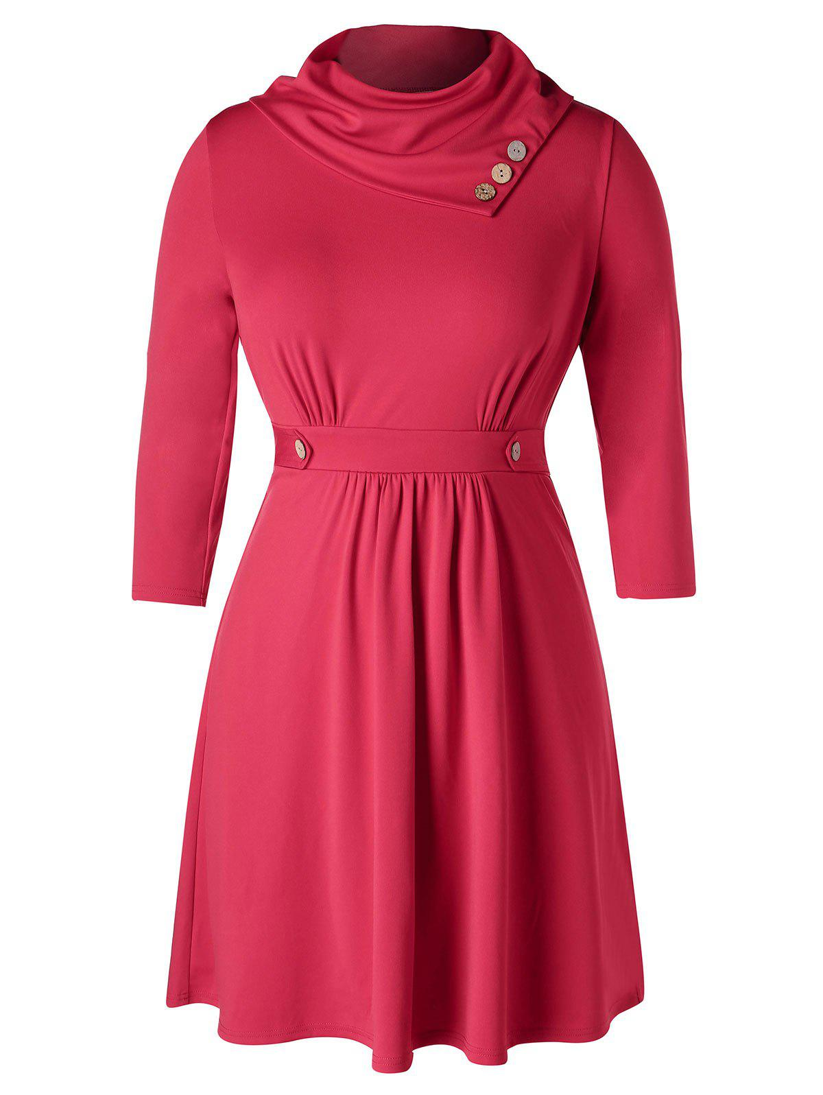 Fashion Plus Size Buttoned Heaps Collar Draped Dress