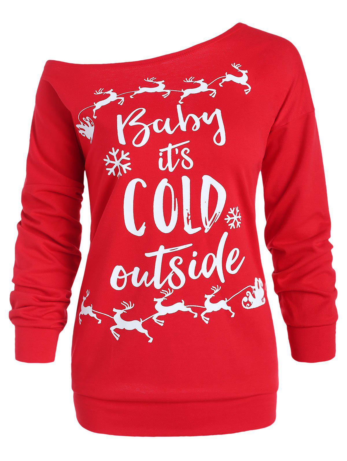 Sweatshirt graphique col rond grande taille Rouge 1X