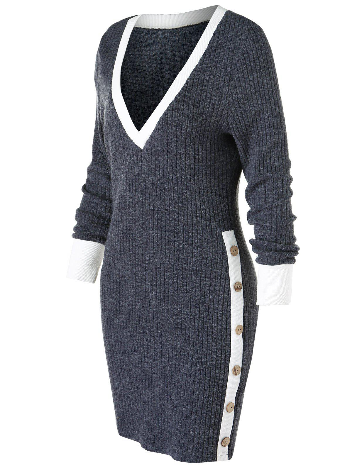 Trendy Low Cut Contrast Trim Knit Bodycon Dress