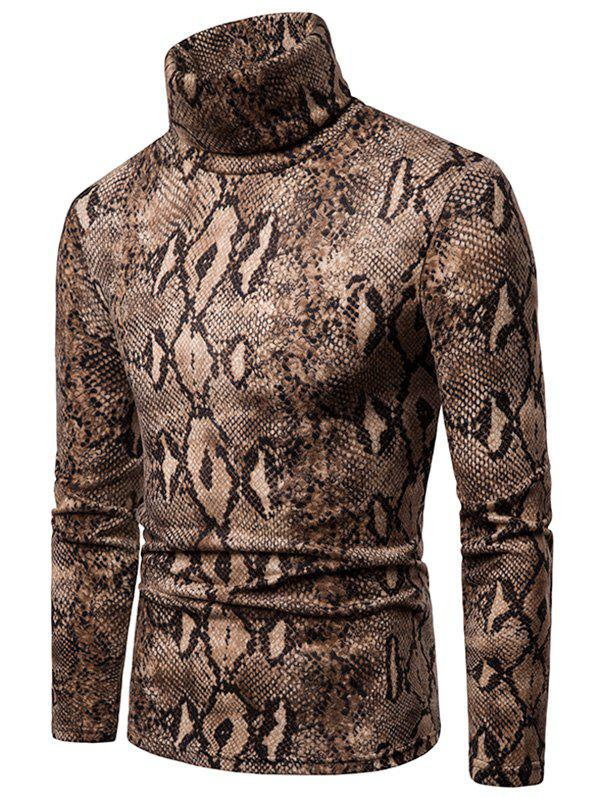 New Snake Skin Printed High Neck Sweater