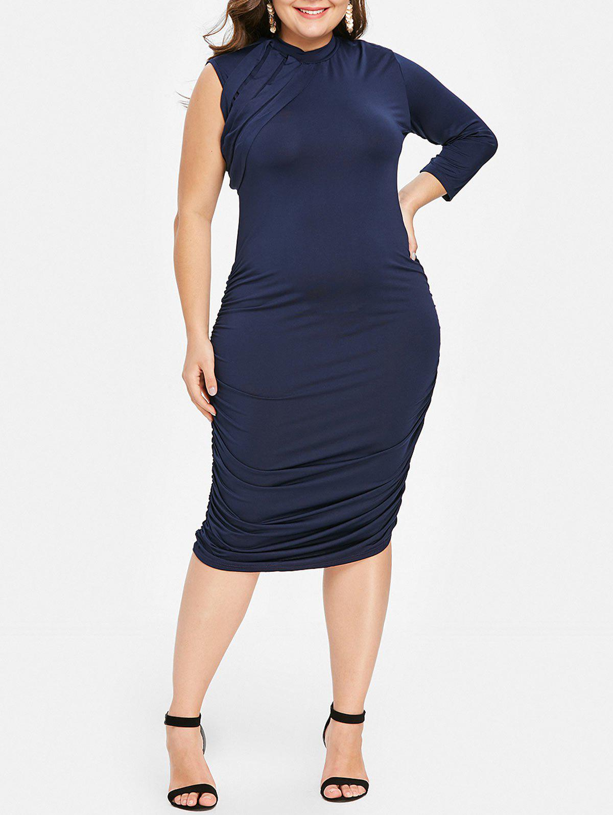 Buy Stylish Stand-Up Collar 3/4 Sleeve Ruched Plus Size Dress For Women
