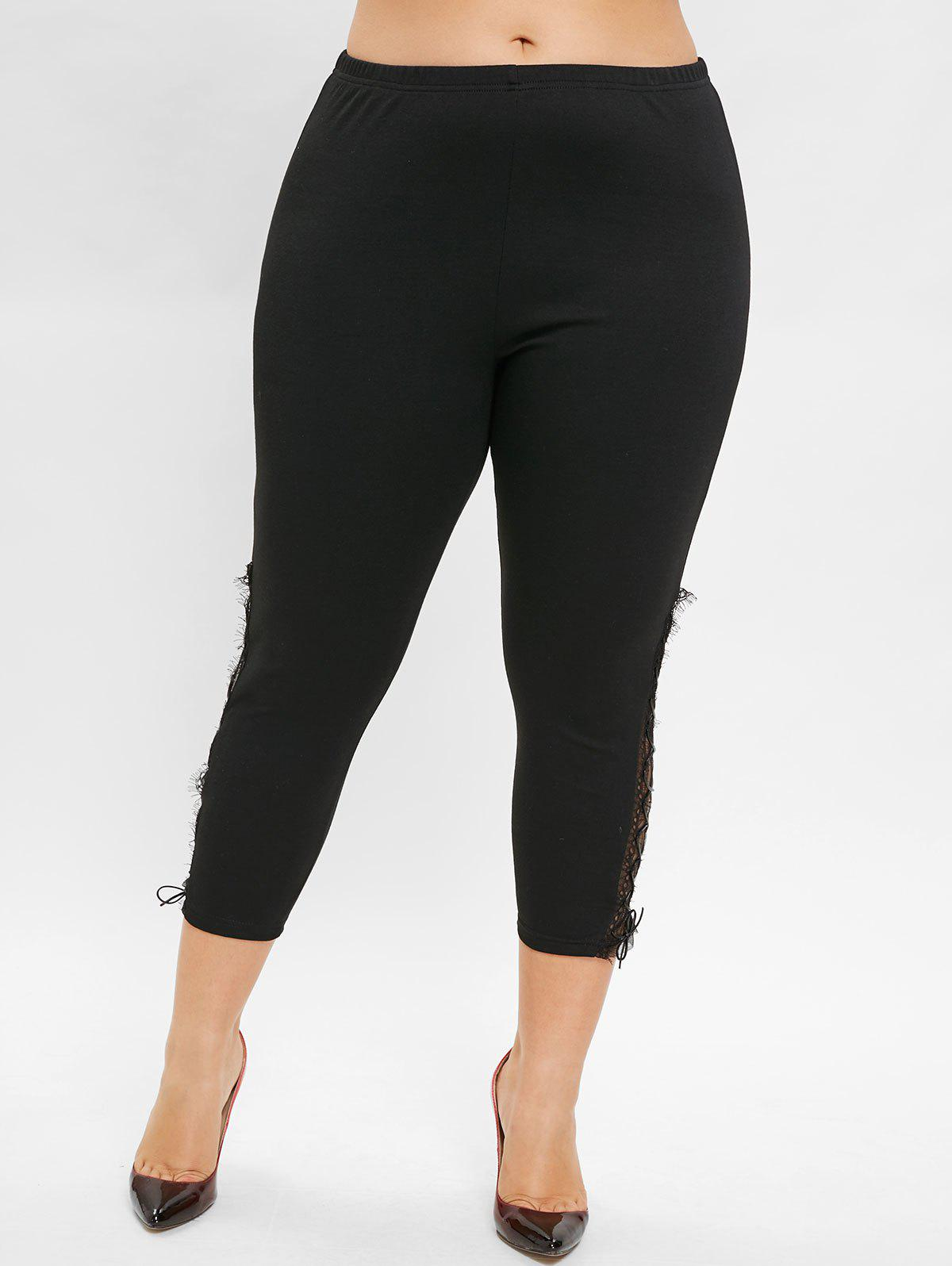 Buy Plus Size Lace Insert Ninth Leggings