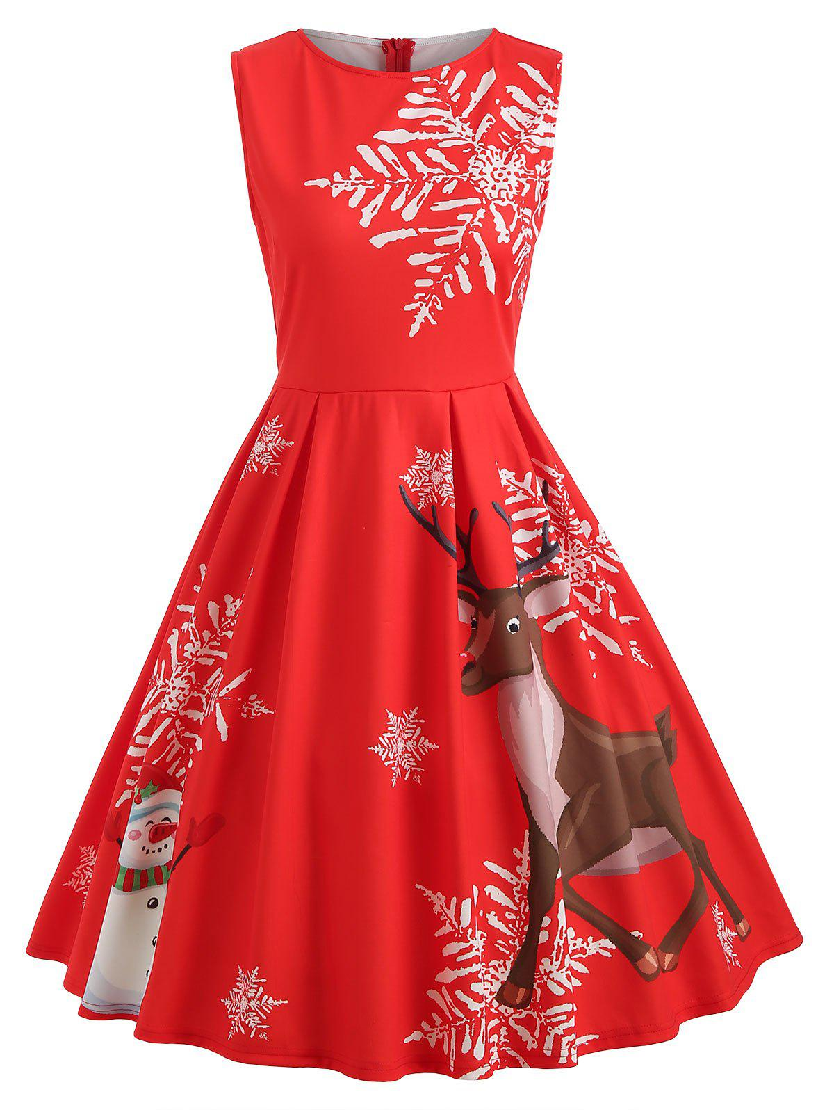 Outfit Christmas Elk and Snowflake Print Dress