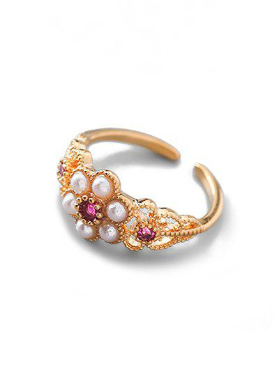 Store Zircon Flower Shape Cuff Ring