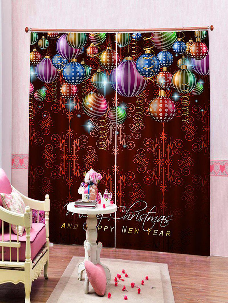 Outfit 2 Panels Christmas Colorful Balls Print Window Curtains