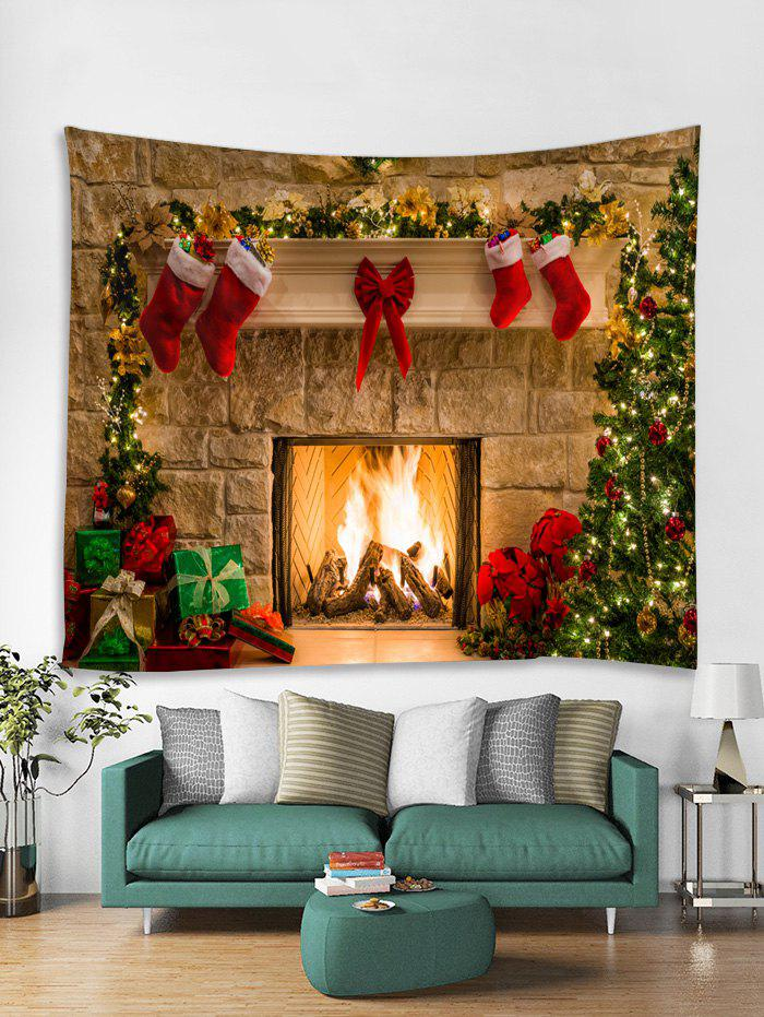 Discount Christmas Fireplace Print Tapestry Wall Hanging Art Decoration