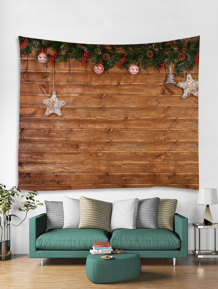 Discount Christmas Wood Grain Print Tapestry Wall Hanging Decoration