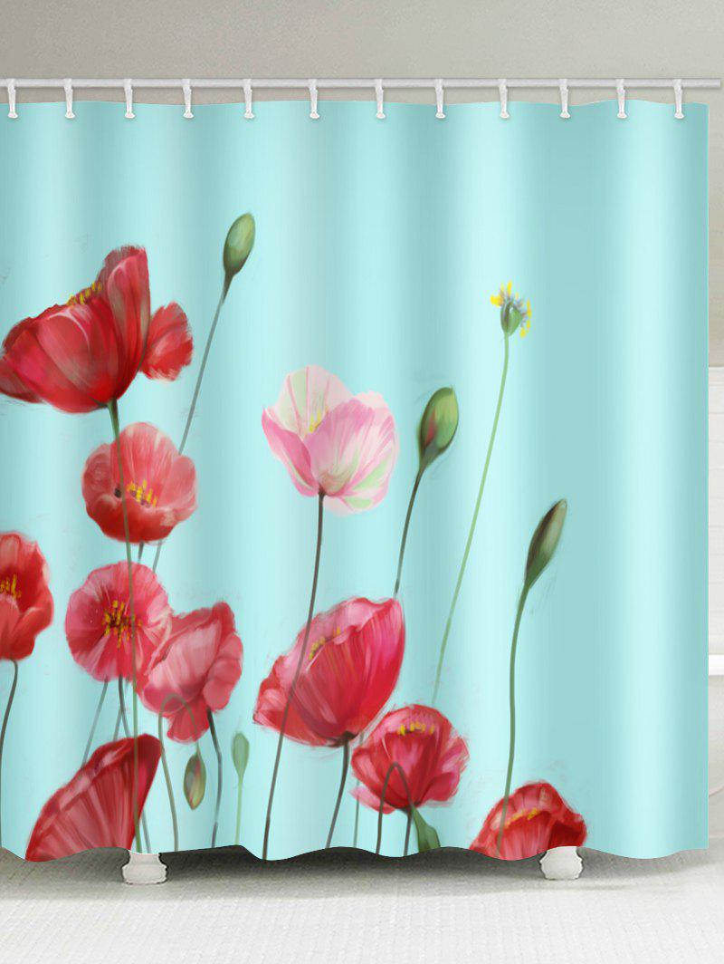 Outfit Flowers Print Waterproof Bathroom Shower Curtain