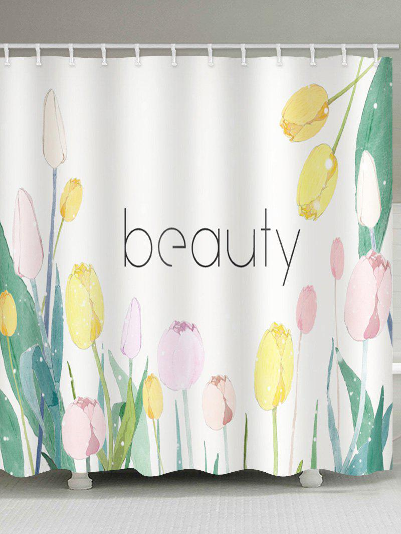 Affordable Beauty Flowers Print Waterproof Bathroom Shower Curtain