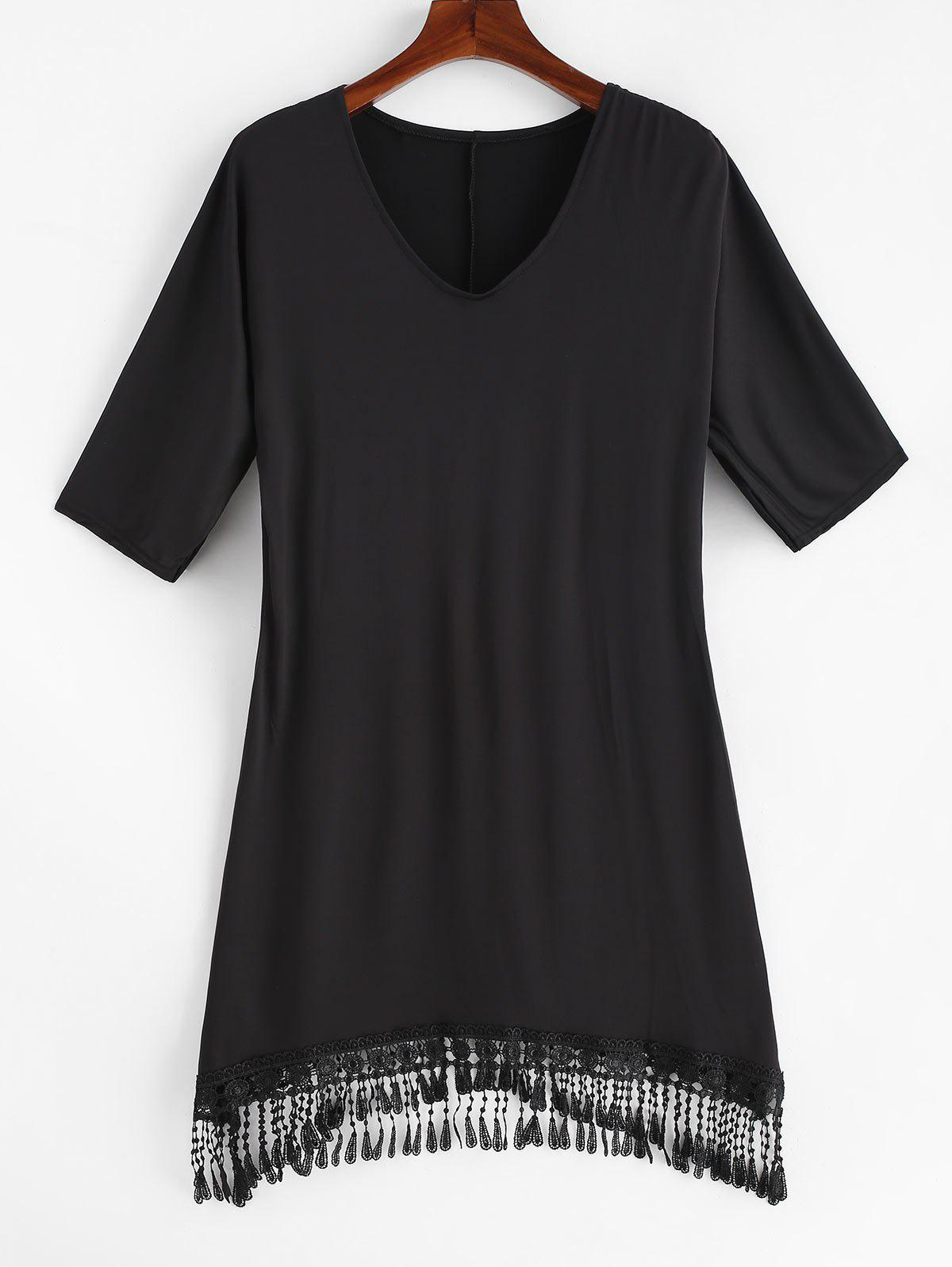 Cheap Plus Size V Neck Fringed Cover Up