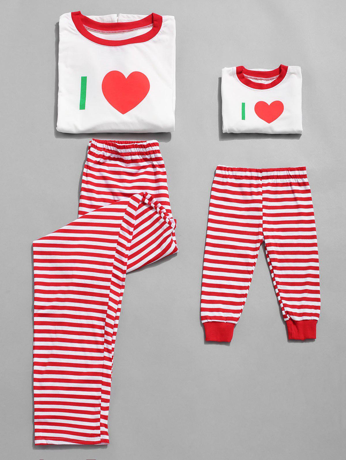 Fashion Letter Print Plus Size Christmas Pajama Set for Mom Kids
