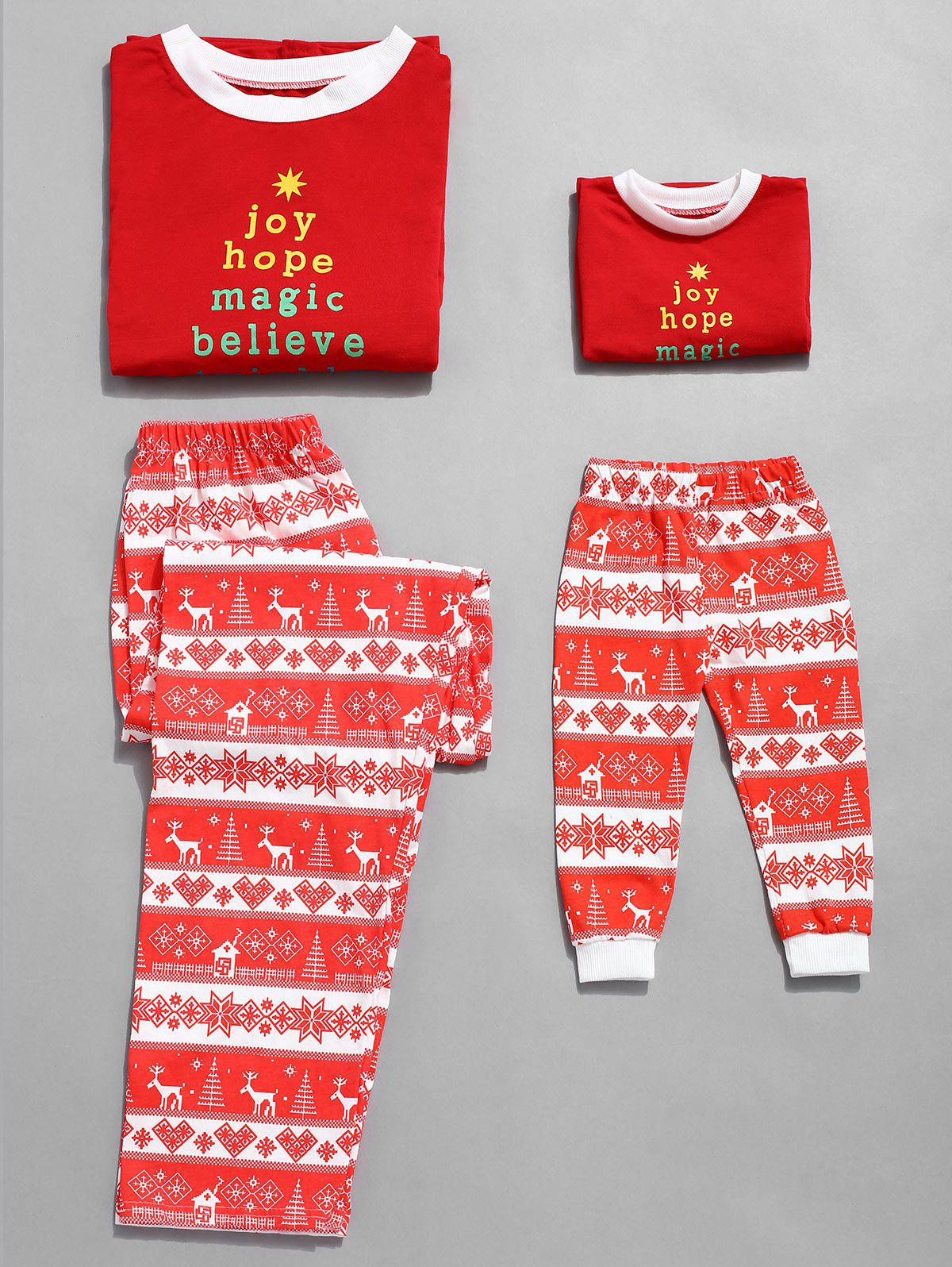 Trendy Christmas Letter Print Plus Size Family Pajamas