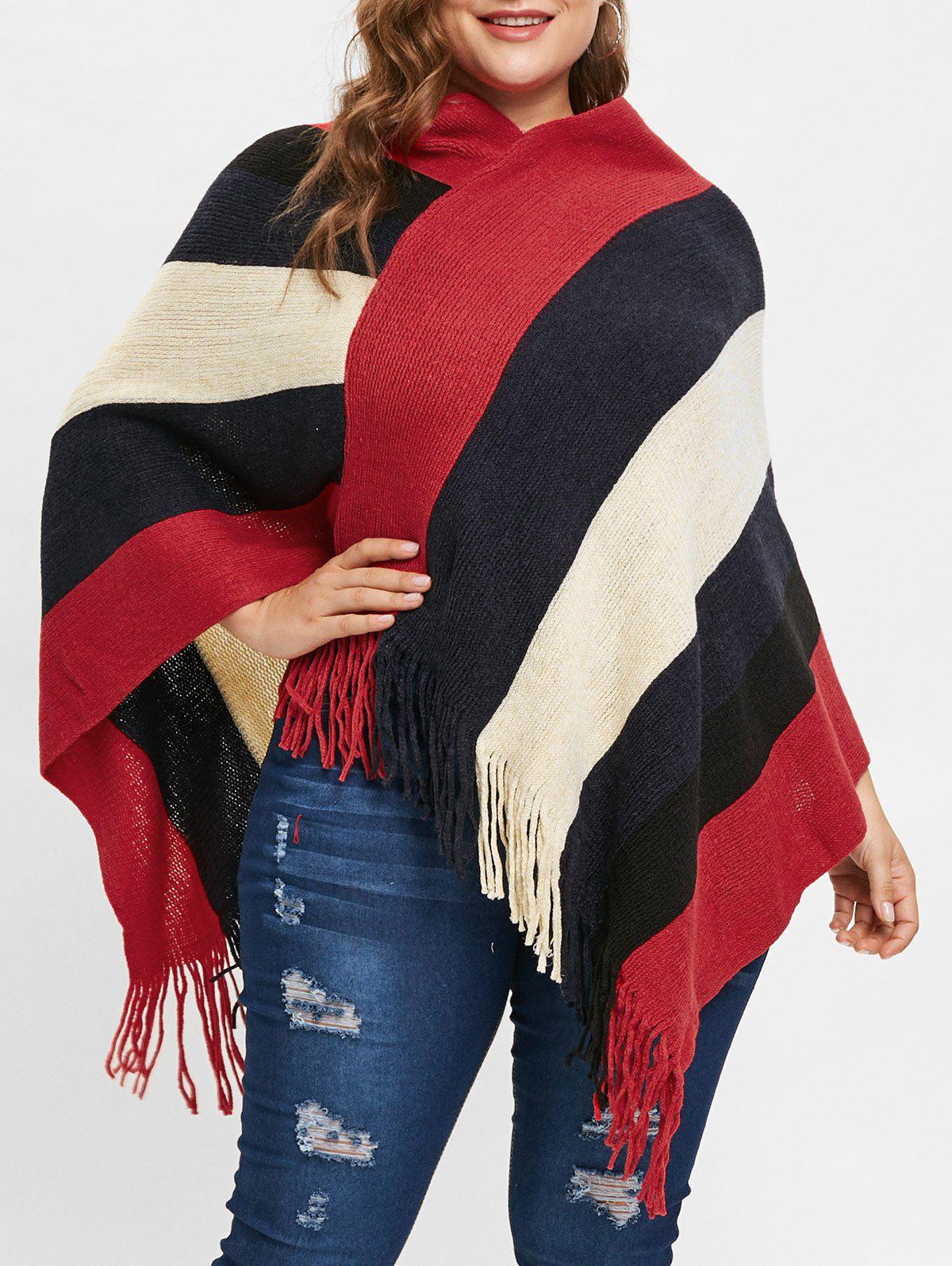 Shop Plus Size V Neck Sweater Cape with Fringed