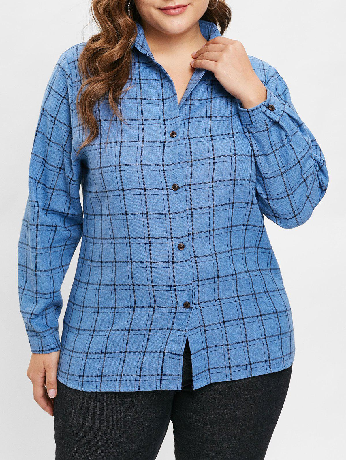 Outfits Plus Size Plain Plaid Shirt