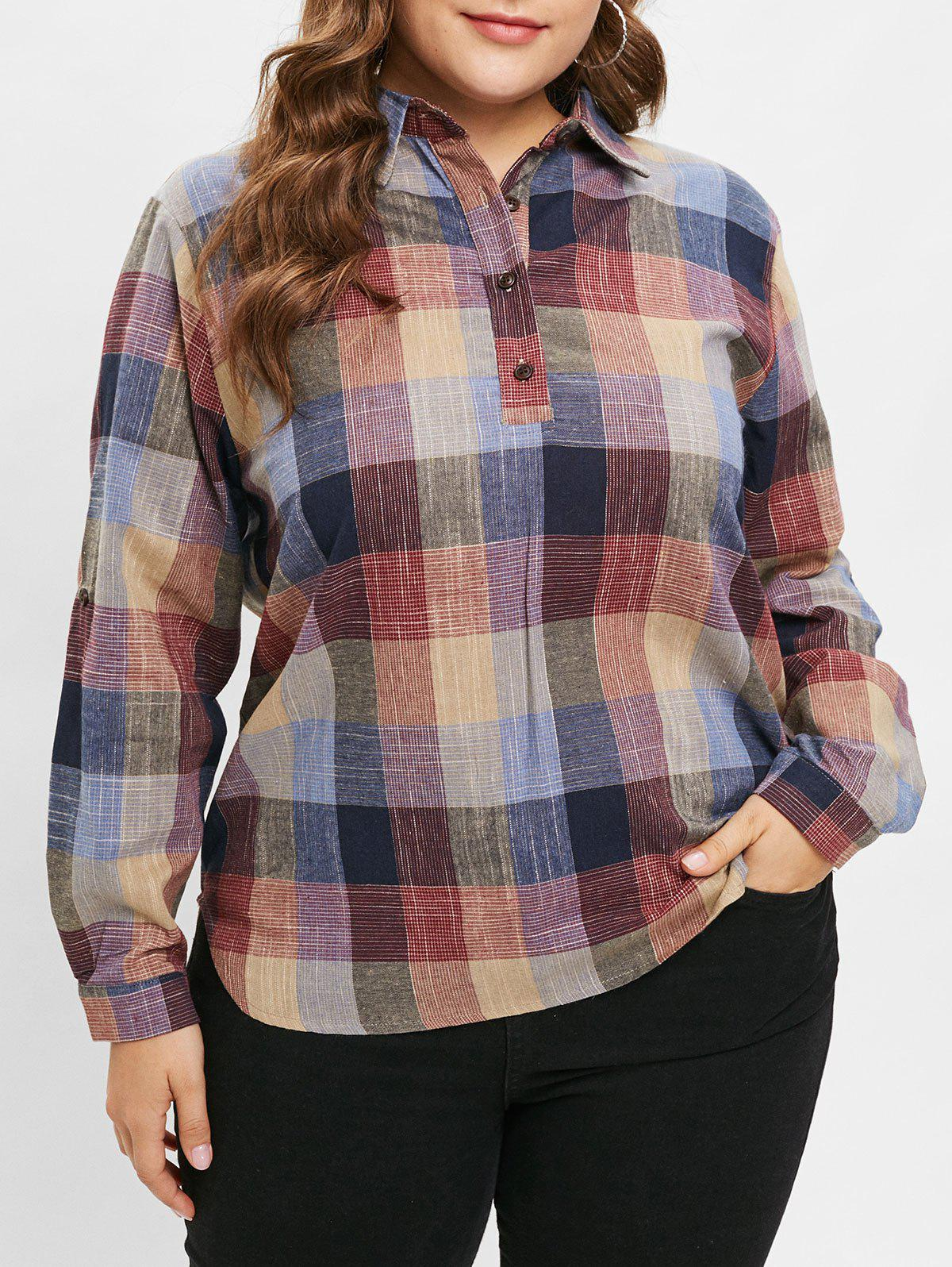 Outfit Plus Size Plaid Shirt with Half Buttons