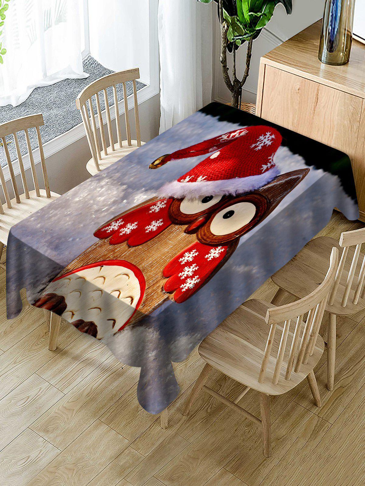 Outfits Christmas Owl Print Fabric Waterproof Tablecloth