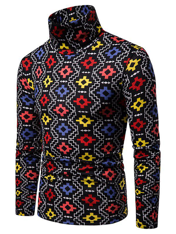 Outfits Geometric Printed High Neck Pullover Sweater