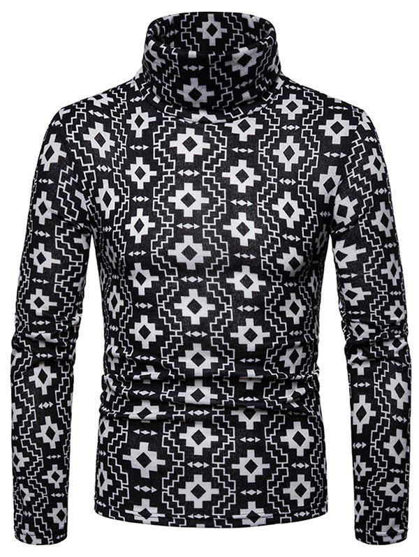 Shops Geometric Printed High Neck Pullover Sweater