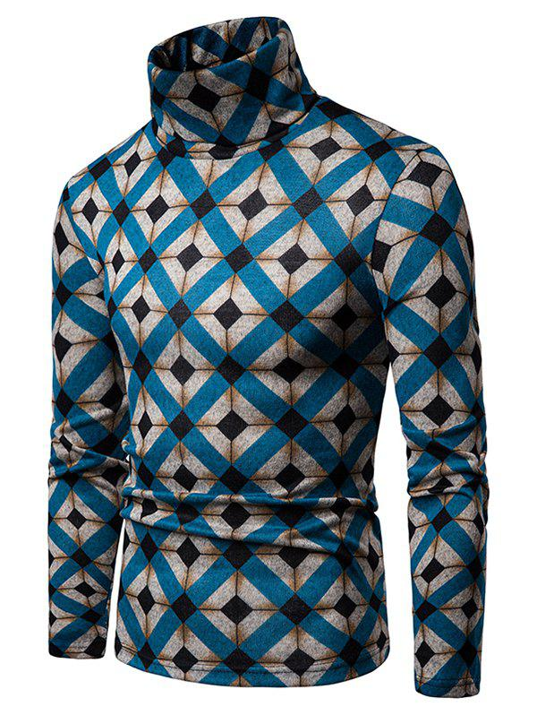 Outfit Rhombus Pattern High Neck Pullover Sweater