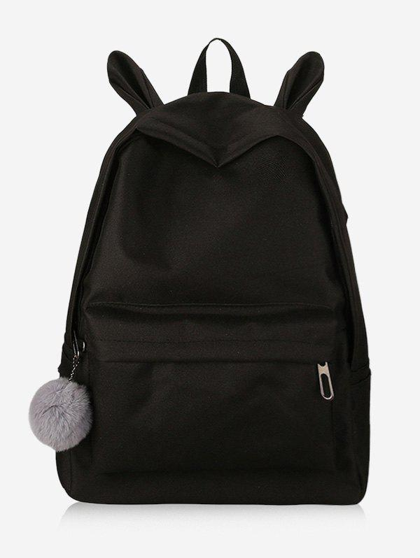 Hot Plush Ball Decoration Canvas Backpack
