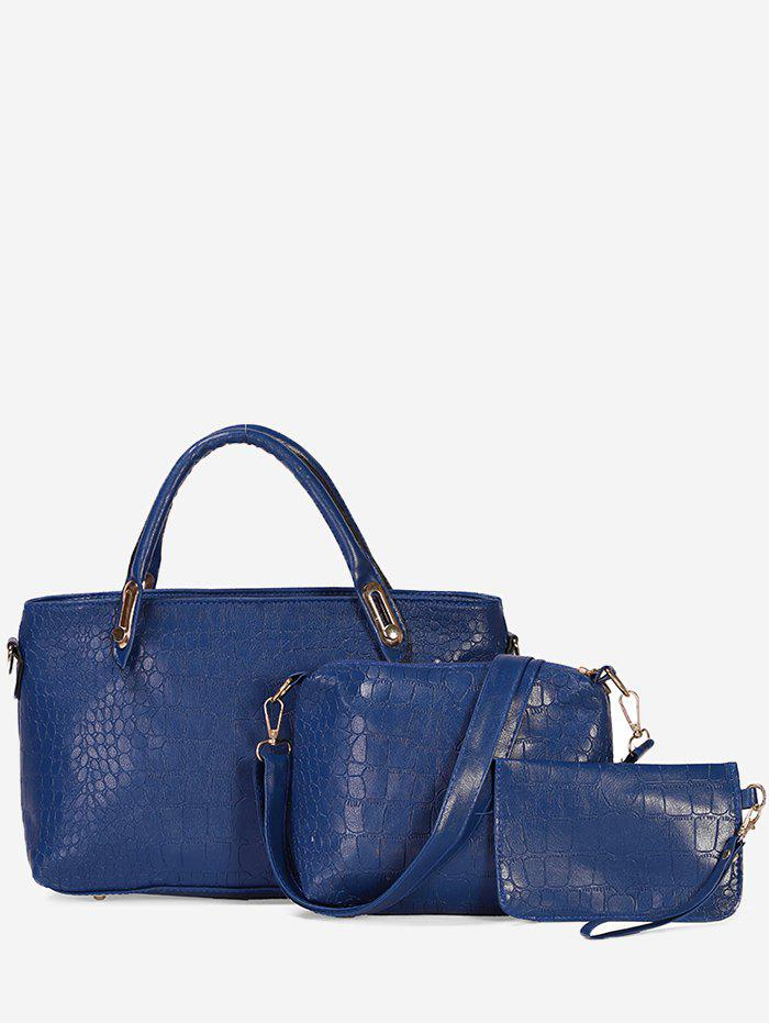 Affordable 3Pcs Solid Color Artificial Leather Design Tote Bag