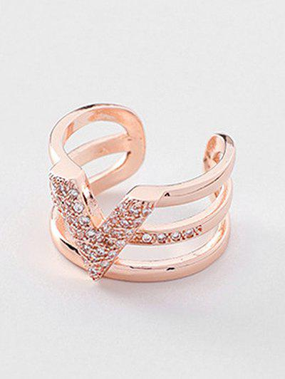 Outfit Multilayered Simple Design Rhinestone Ring