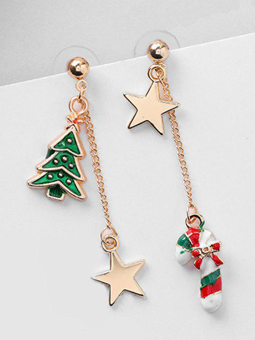 Hot Christmas Asymmetric Candy Cane and Star Earrings