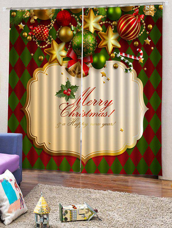 Hot 2 Panels Christmas Theme Print Window Curtains
