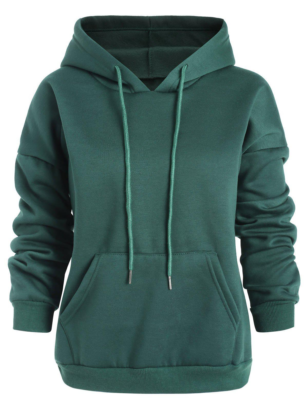 Fancy Plus Size Solid Pullover Hoodie