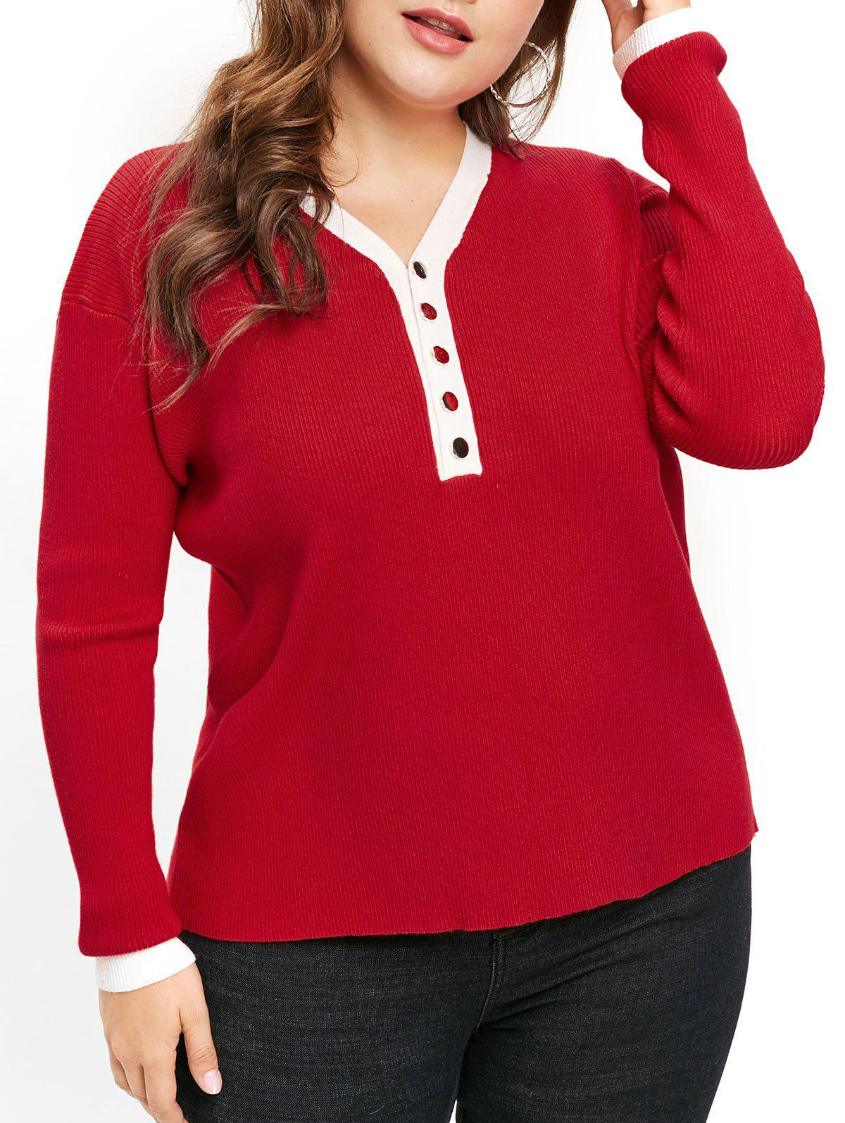 Discount Plus Size Two Tone Sweater with Half Buttons