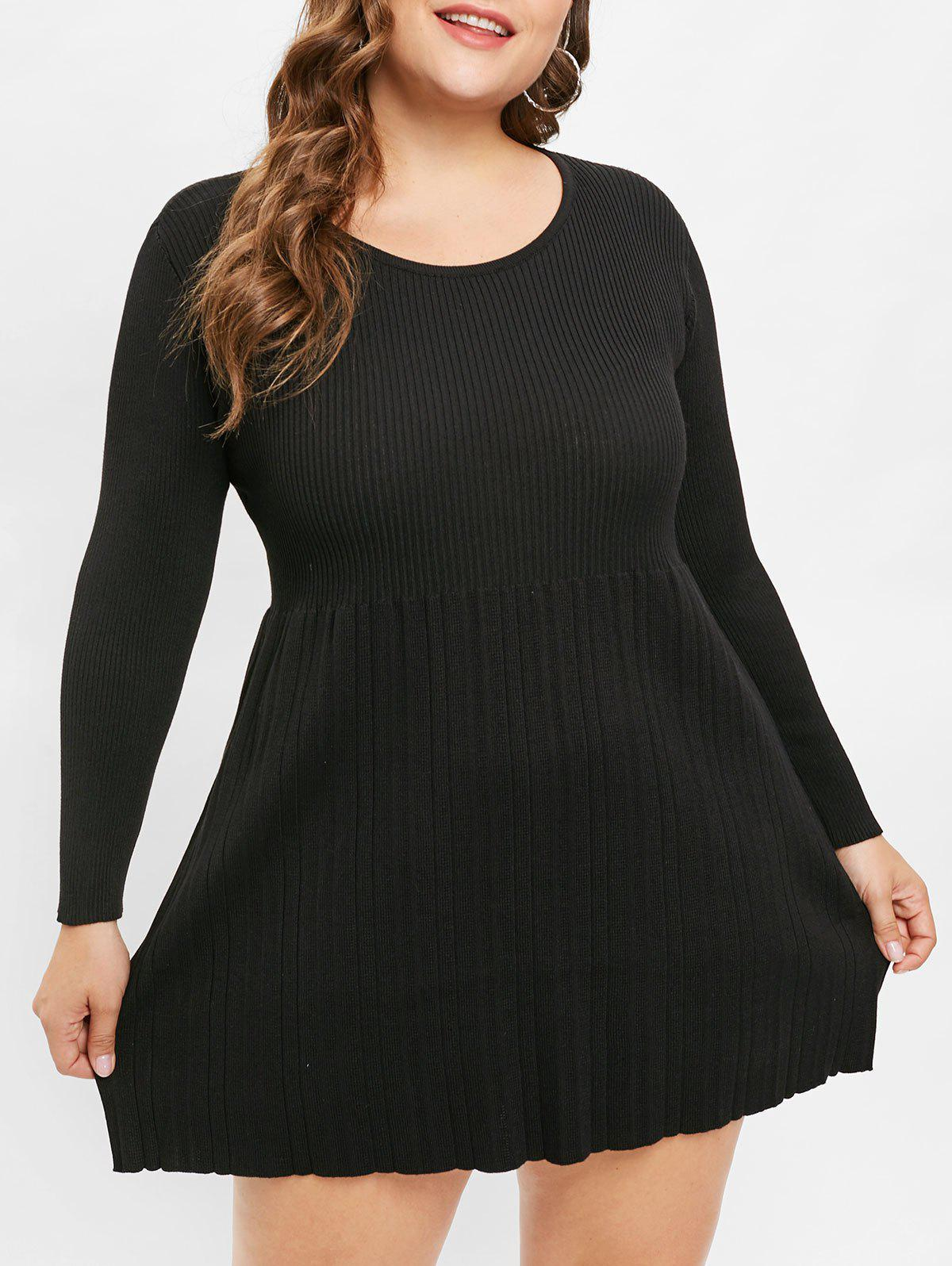Plus Size High Waisted Pleated Sweater Dress