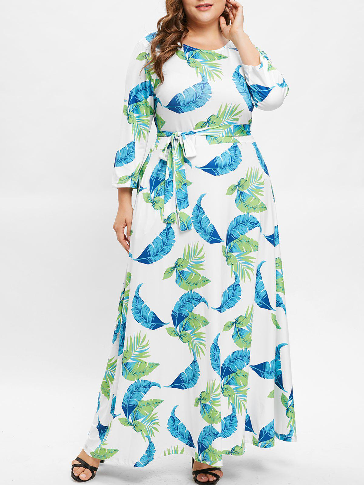 Best Round Neck Plus Size Leaf Print Maxi Dress