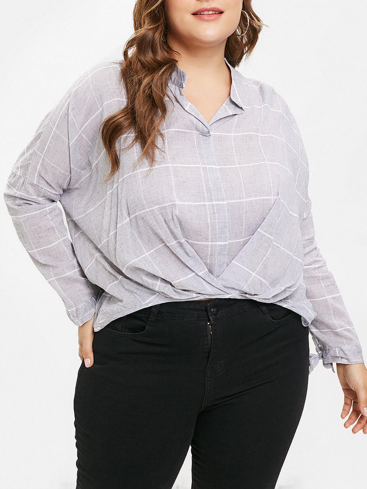 Buy Plus Size High Low Plaid Blouse with Ties