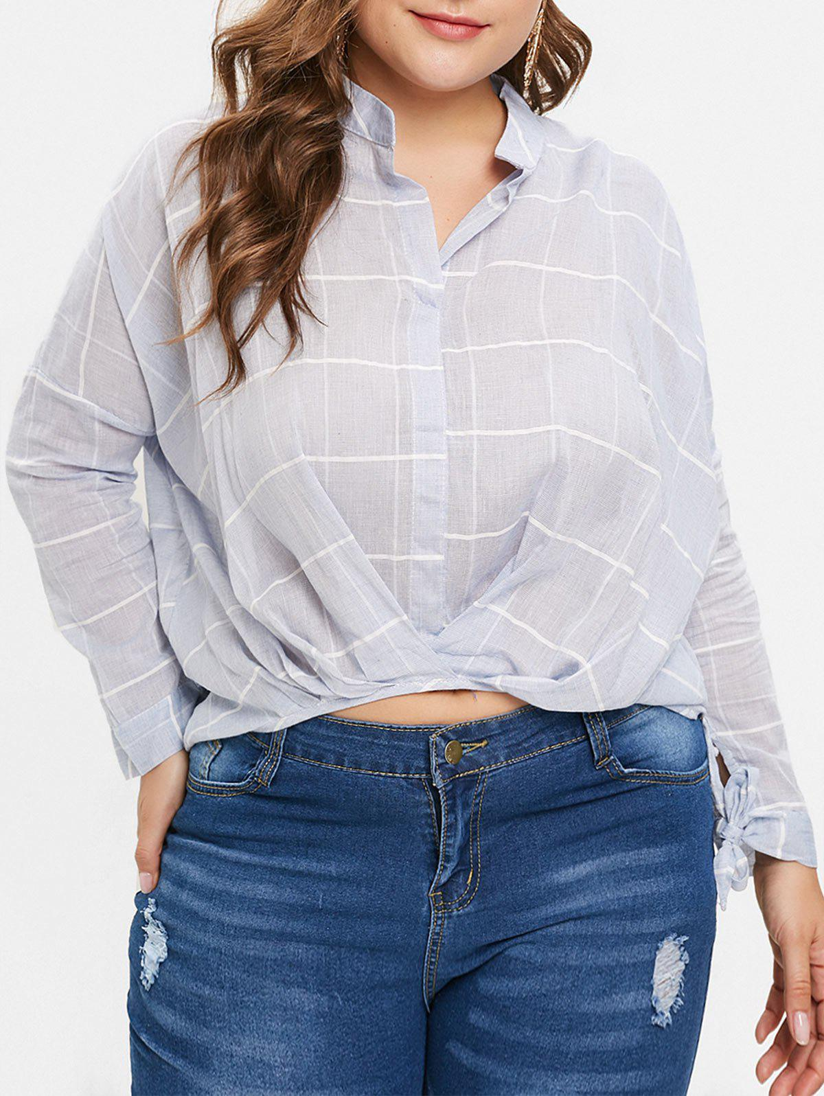 Trendy Plus Size High Low Plaid Blouse with Ties