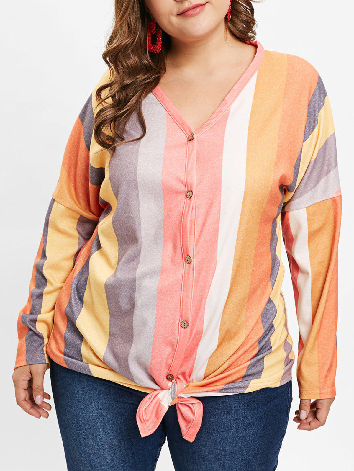 ced07936ce9 40% OFF   2018 Knot Front Plus Size Striped T-shirt In Multi 2x ...