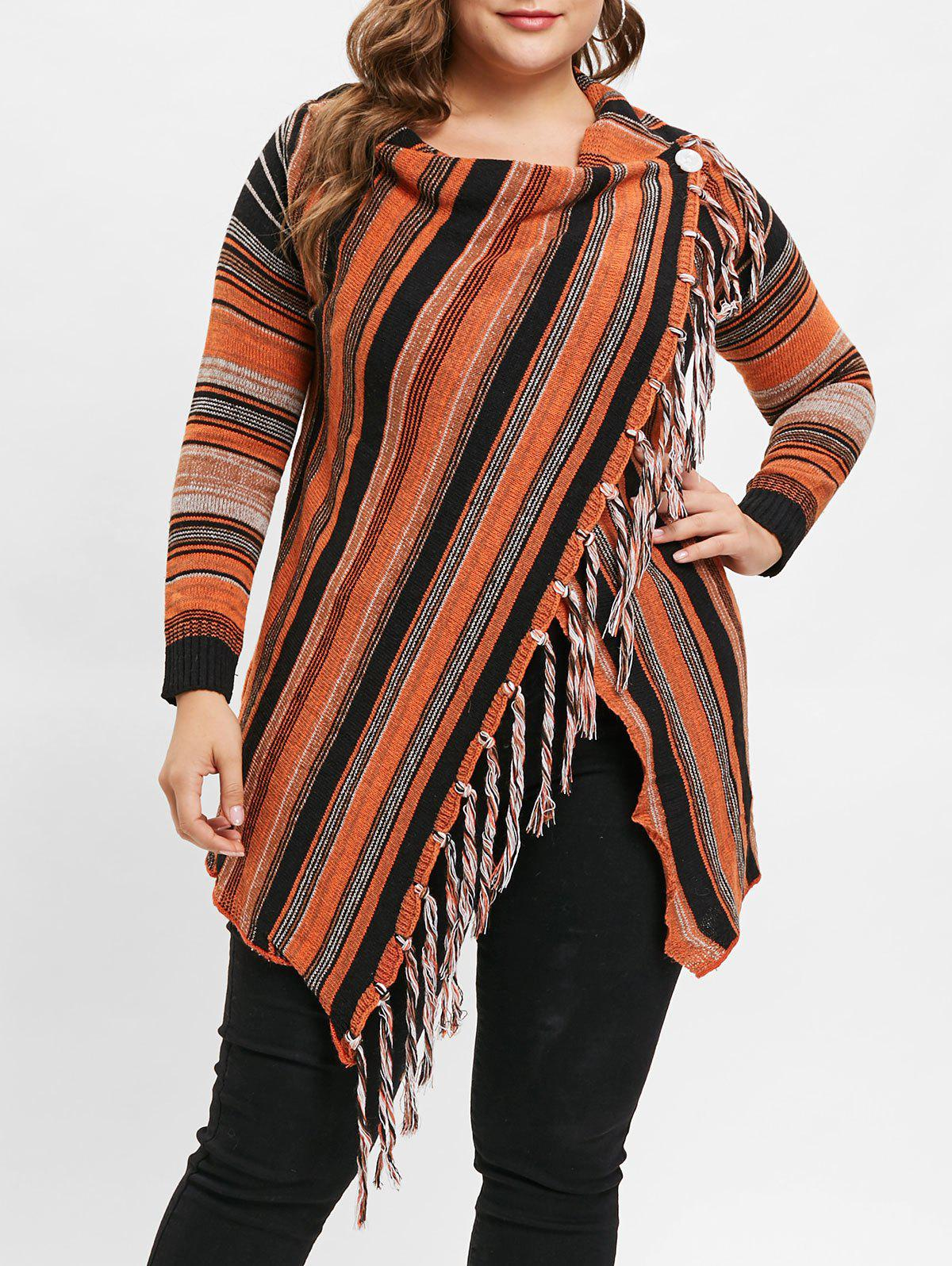 Outfit Plus Size Asymmetric Striped Cardigan with Tassel