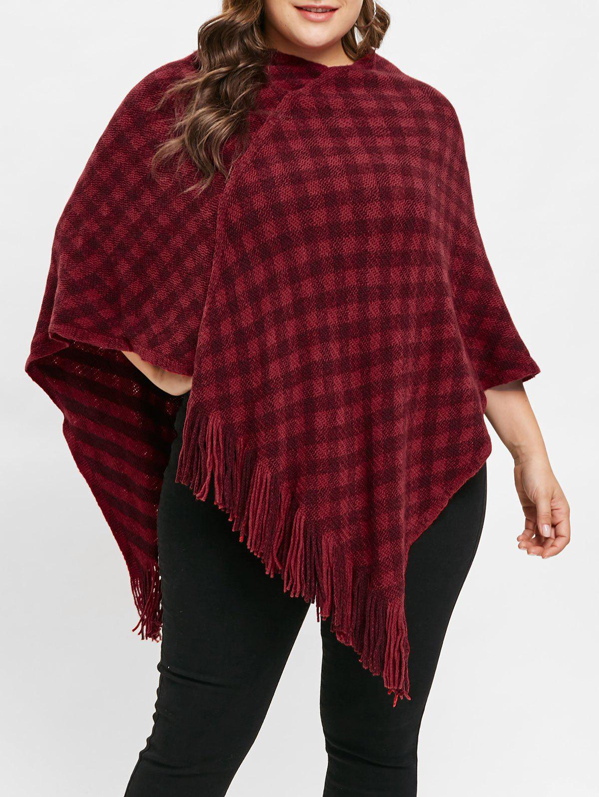 Shops Plus Size V Neck Plaid Fringed Sweater Cape
