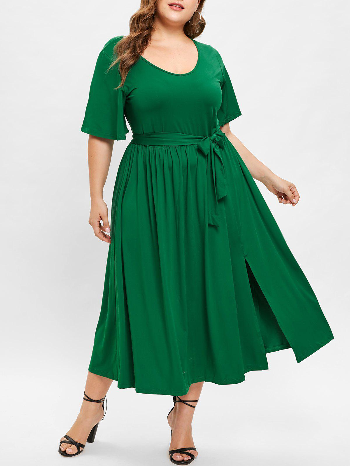 38% OFF] Front Slit Plus Size Belted Mid Calf Dress | Rosegal