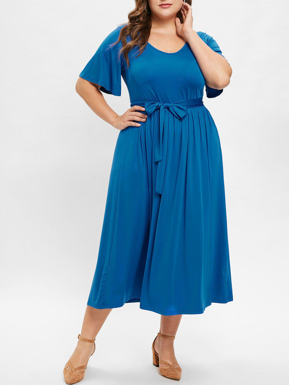 Discount Front Slit Plus Size Belted Mid Calf Dress