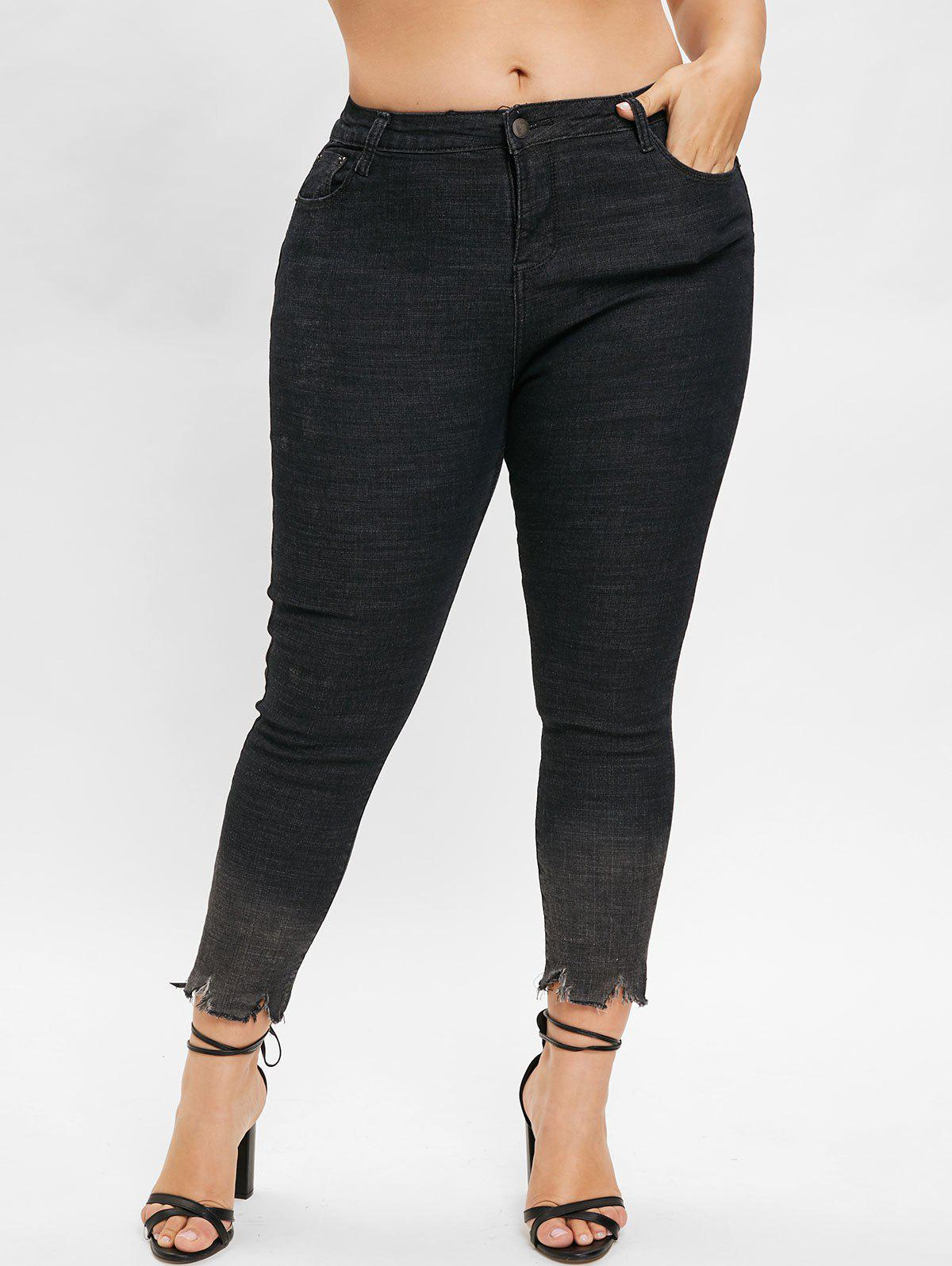 Unique Plus Size Mid Waisted Frayed Jeans