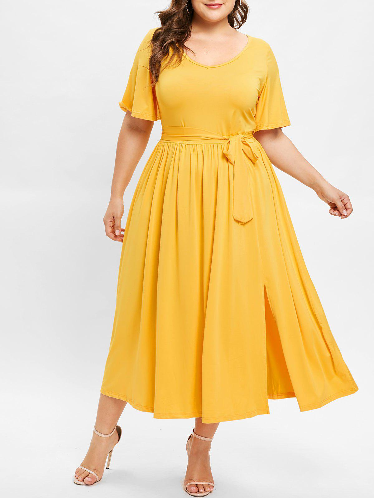 Sale Front Slit Plus Size Belted Mid Calf Dress