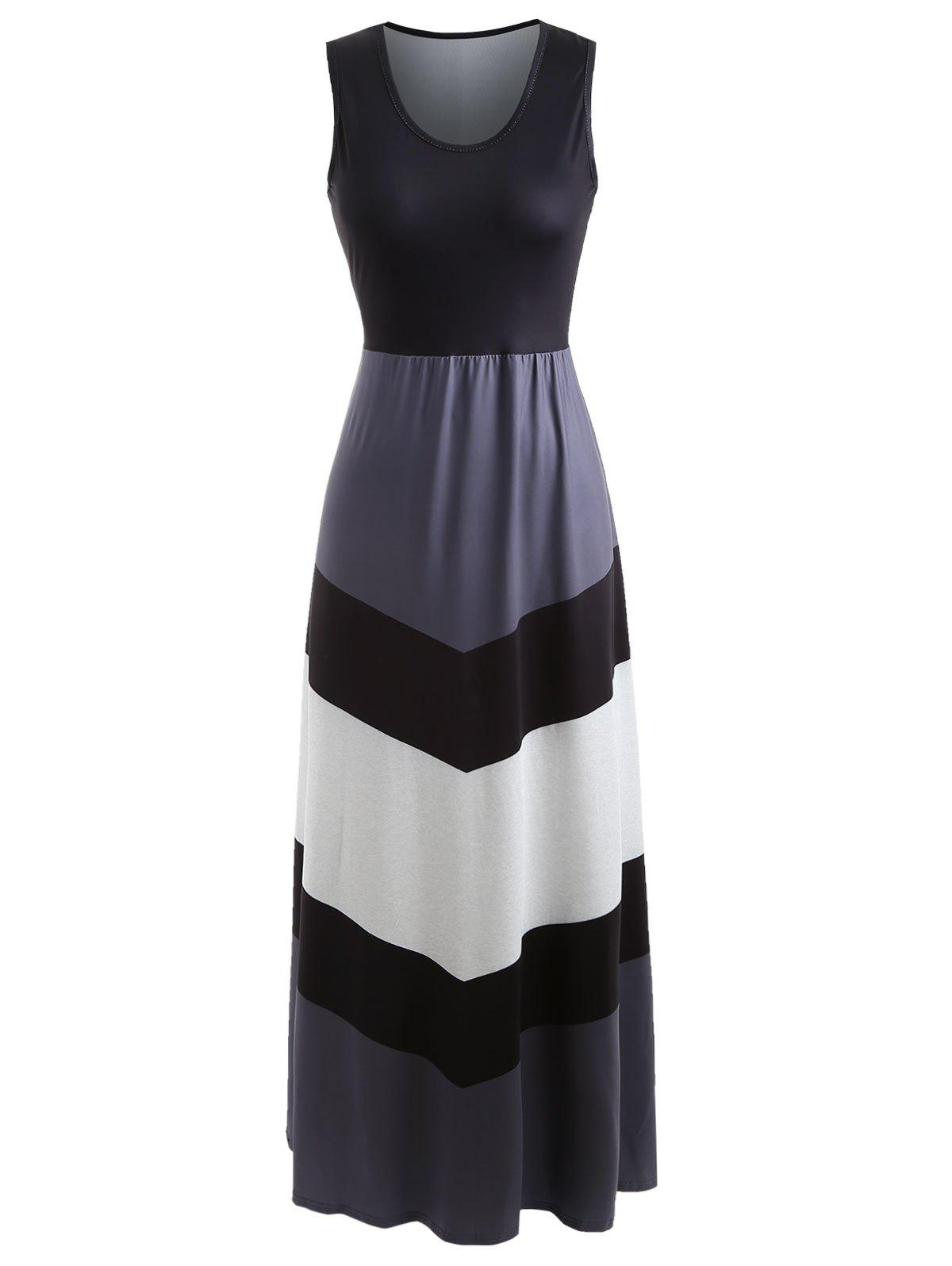 Discount Sleeveless Color Block Long Dress