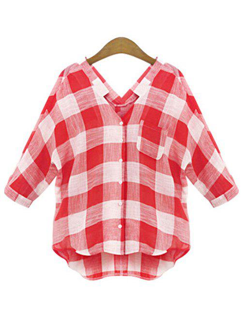Latest Plus Size V Neck Plaid Shirt